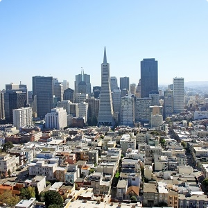 San Francisco skyline pyramid rounded
